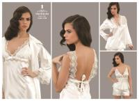 Cotton-Satin Night and Morning Gown 4140